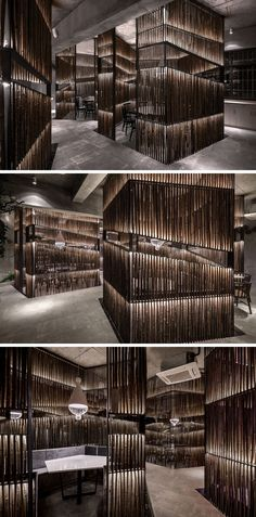 This New Restaurant In China Creatively Uses Bamboo Throughout Its Interior Bamboo has been heavily used throughout this modern restaurant. In the dining areas, bamboo is used to create private spaces for small groups. Coffee Shop Interior Design, Italian Interior Design, Restaurant Interior Design, Cafe Design, Design Design, Residence Senior, Bamboo Architecture, Pub Decor, Café Bar