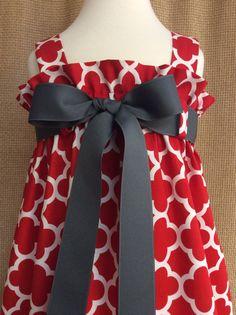 Zadee Dress... Ruffle Top Sundress with Interchangeable Ribbon Belt...Red/White Quatrefoil Fabric by Riley Blake Designs #rileyblakedesigns #quatrefoil