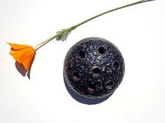 Vintage Black Ceramic Flower Frog Ikebana Flower by AstrasShadow, $12.50