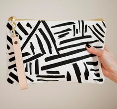 Black & White Marks, Geometric, Lines, Screen Printed Canvas Clutch, Leather Wristlet-Ready to Ship