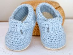 Pattini di bambino del CROCHET PATTERN con t-bar classico per bambino ragazzi e ragazze foto Tutorial Baby Booties digitale file Download immediato
