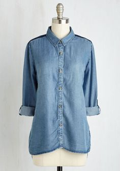 Inn for the Evening Top - Mid-length, Woven, Blue, Solid, Embroidery, Festival, Americana, 3/4 Sleeve, Fall, Better, Collared