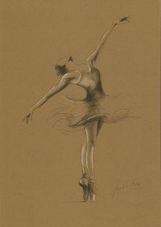 8 x 12 print/drawing on BROWN PAPER of original pencil drawing by Ewa Gawlik Open Edition