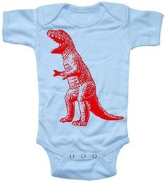 NEW - Roaring Red Dinosaur Sky Blue Baby Boy Bodysuit in 0-6 Months or 6-12 Months. $14.00, via Etsy.
