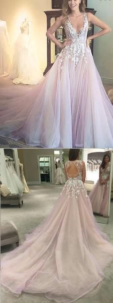2019 A-Line Bridal Sleeves Deep V Neck Heavily Embellished Bodice Romantic Pretty Pink Wedding Dress Plus Wedding Dresses, Handmade Wedding Dresses, Bridesmaid Dresses Plus Size, Western Wedding Dresses, Pink Prom Dresses, Princess Wedding Dresses, Mermaid Dresses, Cheap Wedding Dress, Bridal Dresses