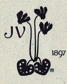 Bookplate of JV (Irena Vanousova) by Preissig