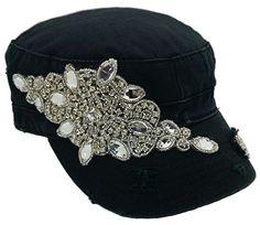 Cap Couture Women's Flashy Flower Cadet Hat Black One Size Cap Couture http://www.amazon.com/dp/B00P8B0C0E/ref=cm_sw_r_pi_dp_0ERwub00W3F4J