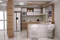 Cores Armario Cozinha E Vidro Leitoso 103991 Open Plan Kitchen Living Room, Condo Kitchen, Home Decor Kitchen, Kitchen Bar Design, Best Kitchen Designs, Interior Design Living Room, Kitchen Layout Plans, Kitchen Modular, Modern Kitchen Interiors