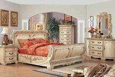 Antique White Bedroom Sets with Luxury Furniture