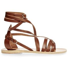 Ancient Greek Sandals Satira Leather Wrap Sandals (15.320 RUB) ❤ liked on Polyvore featuring shoes, sandals, flats, sapatos, zapatos, brown, brown leather flats, real leather shoes, brown flats and wrap shoes