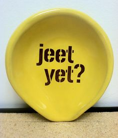 Jeet Yet Pittsburgh Pottery Spoon Rest. $12.00, via Etsy.