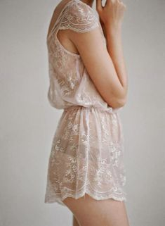 Nude cream lace pyjamas playsuit sheer. so cute with capped sleeves and scalloped hem. Lingerie night wear slip.