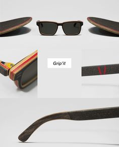 Glasses made out of old skateboards