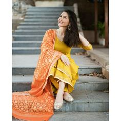 Set of Mustard Kurta and Palazzo with Benarasi Dupatta by The Weave Story Dress Indian Style, Indian Outfits, Indian Wear, Indian Attire, Pakistani Fashion Casual, Indian Fashion, Benarasi Dupatta, Mayon Dresses, Lakme Fashion Week 2017