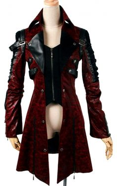 Punk Rave Gothic Jacket, Long Red Visual Kei Jacket