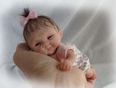 """OOAK Polymer clay Original HandSculpted Collector BABY GIRL DOLL 6""""  ~TRice"""