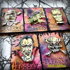 Halloween Items, Halloween Cards, Stampers Anonymous, Tim Holtz, Trick Or Treat, Mixed Media Art, Skull, Paper Crafts, Craft Cards