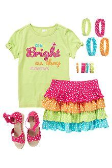 Pretty Dots outfit from Crazy8 (I got the headbands, necklace, skirt, and shoes for my daughter, they are too cute)