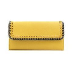 Stella Mccartney Falabella Wallet (960 PEN) ❤ liked on Polyvore featuring bags, wallets, stella mccartney, yellow bag, stella mccartney wallet, yellow wallet and stella mccartney bag
