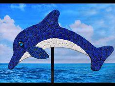 """Large 52"""" lake blue mosaic dolphin"""