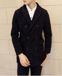 $27.25 Slimming Turn-down Collar Double Breasted Long Sleeves Black Woolen Coat For Men