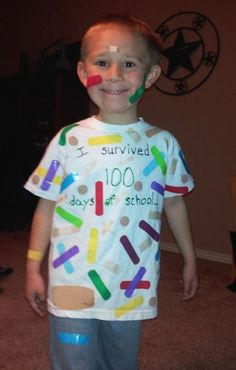"To celebrate the Day of School"" students were supposed to wear 100 of something. So going with the theme of ""I survived 100 days. We put 95 bandaids on the t-shirt and he wore 5 on his body. On the back we added ""So did Mrs. School Parties, School Fun, School Days, Middle School, High School, Funny School, Last Day Of School, School Stuff, Kindergarten Shirts"