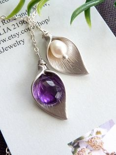 Calla Lily Flower, Purple Amethyst and White Pearl Lariat Necklace $36.95