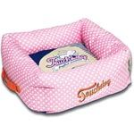 Fun dog bed with polka dot print on bed and strips on the reversible pillow. Polka-Striped Polo Square Dog Bed - Pink / Blue. 2 sizie