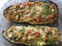 Eggplant Stuffed in Catalan Recipe ~ Food Network Recipes Avocado Recipes, Lunch Recipes, Seafood Recipes, Appetizer Recipes, Salad Recipes, Chicken Recipes, Cooking Recipes, Healthy Recipes, Eggplant Recipes