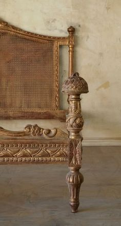 French Feel Cane Carved Queen Bed 1940s