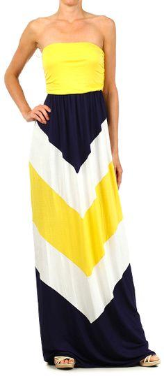 Yellow + navy chevron // Summer strapless maxi dress