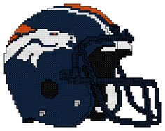 Counted Cross Stitch Pattern, Denver Broncos Helmet - Free Us Shipping Plastic Canvas Books, Plastic Canvas Crafts, Plastic Canvas Patterns, Beaded Cross Stitch, Counted Cross Stitch Patterns, Cross Stitch Embroidery, Pearler Bead Patterns, Perler Patterns, Perler Beads
