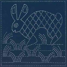 Rabbit. Mimbres Pottery design. Sashiko quilt blocks stamped with southwest designs for sale at sashikosouthwest.com