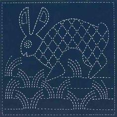 Rabbit. Mimbres Pottery design. Sashiko quilt blocks stamped with southwest designs for sale at sashikosouthwest.com