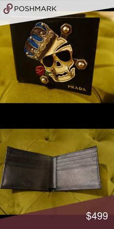 PRADA Saffiano skull wallet. One of a kind. Mint. Saffiano leather.  8 credit cards slots. One cash compartment. Authentic 100% or money back.    Website prices different. Prada Bags Wallets