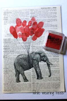 """While Wearing Heels: Circus Party : Guest book: Print a Graphics Fairy animal onto an old dictionary page, then have everyone """"sign"""" by stamping their fingerprint as a """"balloon."""" LOVE, LOVE, LOVE!!!"""