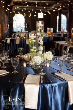 Assortment of cylinder vases centerpiece Navy Centerpieces, Cylinder Centerpieces, Cylinder Vase, Vases Decor, Hydrangea Centerpieces, Centerpiece Ideas, Navy Blue And Gold Wedding, Reception Decorations, Table Decorations