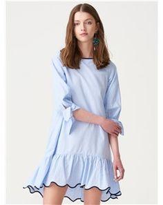 Dilvin - Dilvin 9670 Kolları Bağlamalı Elbise-Mavi 101A09670_Mavi