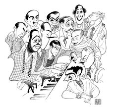 'great american songwriters - richard rodgers, george and ira gershwin, irving berlin, hoagy carmichael & more' by al hirschfeld Jazz Club, Hoagy Carmichael, Richard Rodgers, Irving Berlin, Duke Ellington, Character Sheet, Hollywood, Black And White Portraits, Almost Always