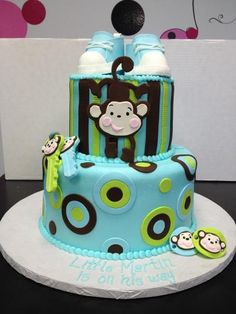 baby shower monkey cake