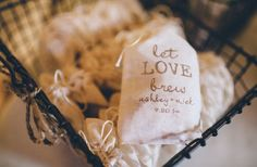 Coffee ground favors in personalized bags, great idea! Ohio Barn wedding from http://greenweddingshoes.com/Photography: Studio127 Photography