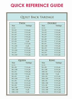 Don't know how much fabric to purchase for the back of your quilt? This Quilt Yardage Quick Reference Guide is for you. Print it out and take it to the store. DLW