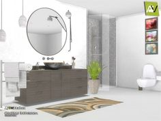 Created By ArtVitalex Chateau Bathroom Created for: The Sims 4 All objects three has a different pattern - Chateau Shower - Chateau Toilet - Chateau Sink - Chateau Circle Mirror - Chateau Toilet Paper. Sims 4 Cc Furniture Living Rooms, Living Room Modern, Bathroom Furniture, Home Furniture, Furniture Sets, Sims 4 Mac, Sims Cc, Muebles Sims 4 Cc, Casas The Sims 4