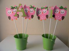 Cute centerpiece idea! Owl Birthday Party Centerpieces Table by sweetheartpartyshop