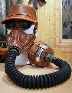 Altitude mask tryout in tan leather.