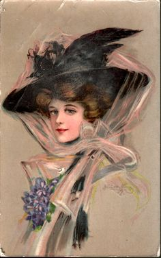 lady in beige, facing left with large black hat secured by pink filmy scarf and ribbon applique