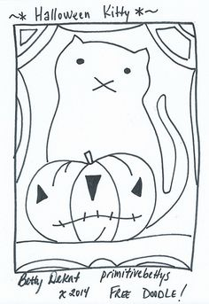©primitivebettys 2014 Enjoy this doodle to hook, punch, stitch. Halloween Quilts, Halloween Embroidery, Halloween Cat, Primitive Stitchery, Primitive Patterns, Primitive Crafts, Primitive Sayings, Primitive Snowmen, Primitive Christmas