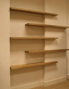 Solid oak floating shelf finished with linseed oil