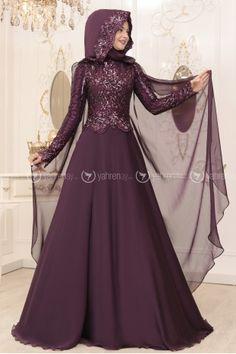 Berra Abiye - Mor - Pınar Şems Wedding Hijab Styles, Hijab Wedding Dresses, Bridal Dresses, Prom Dresses For Teens, Modest Dresses, Nice Dresses, Muslimah Wedding Dress, Hijab Style Dress, Abaya Fashion