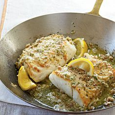 Roasted cod with garlic butter! For this easy cod recipe, simply cook the fish in an ovenproof skillet then top with a savory garlic butter flavored with mustard, shallots, parsley and proscuitto. Roast Cod with Garlic Butter Recipe - VERY easy and good; Seafood Dishes, Seafood Recipes, Cooking Recipes, Healthy Recipes, Cod Fish Recipes, Cooking Fish, Baked Cod Recipes, Grilled Fish Recipes, Halibut Recipes